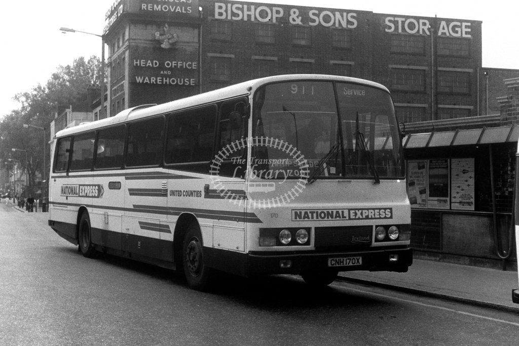 United Counties Leyland Leopard CNH170X  at Victoria  in 1980s - JGS Smith