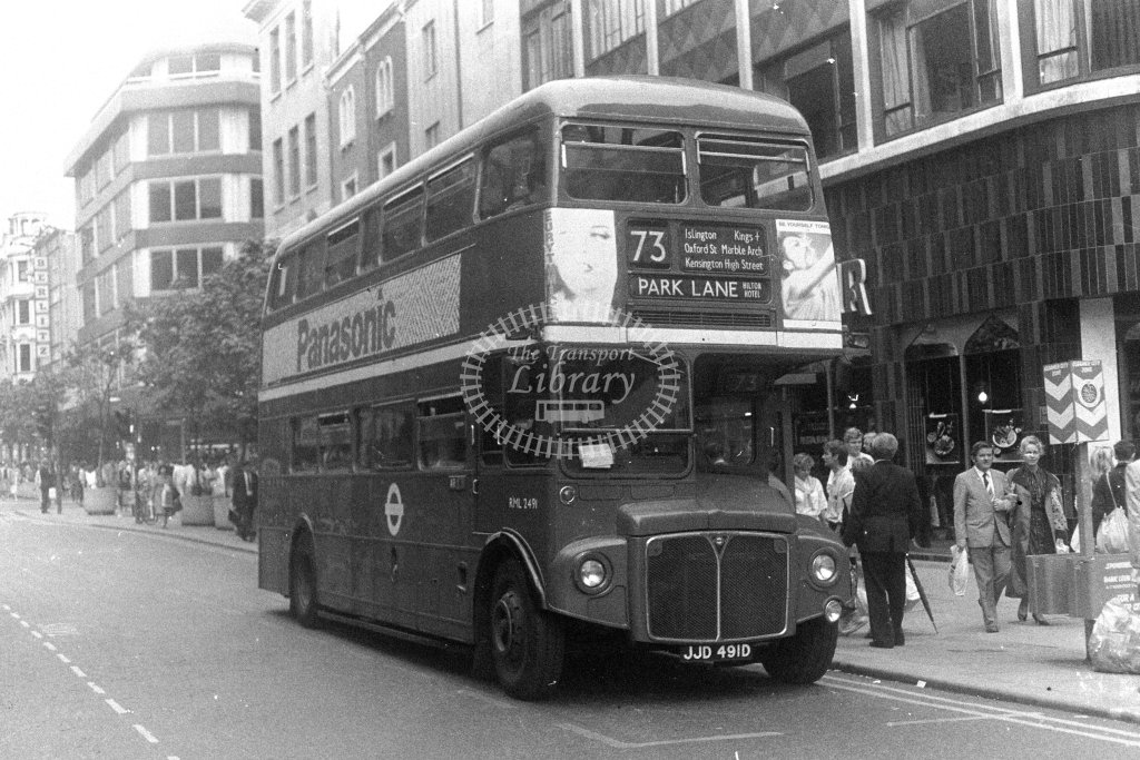 London Transport AEC Routemaster RML2491 JJD491D  on route 73  at Oxford Street  in 1980s - JGS Smith