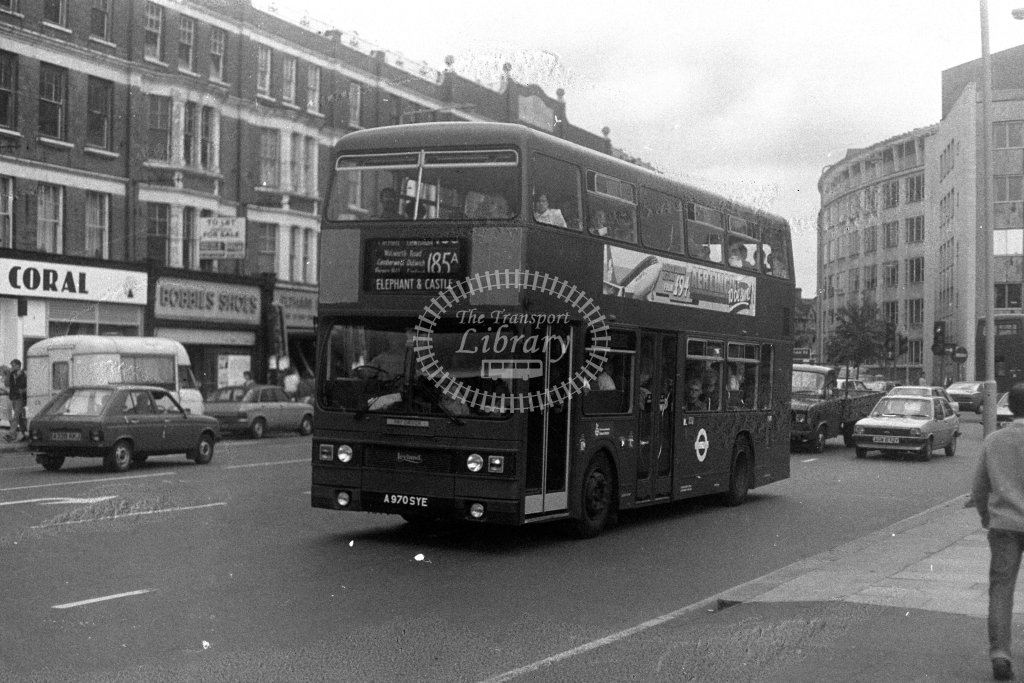 London Transport Leyland Titan T970 A970SYE  on route 185A  in 1980s - JGS Smith