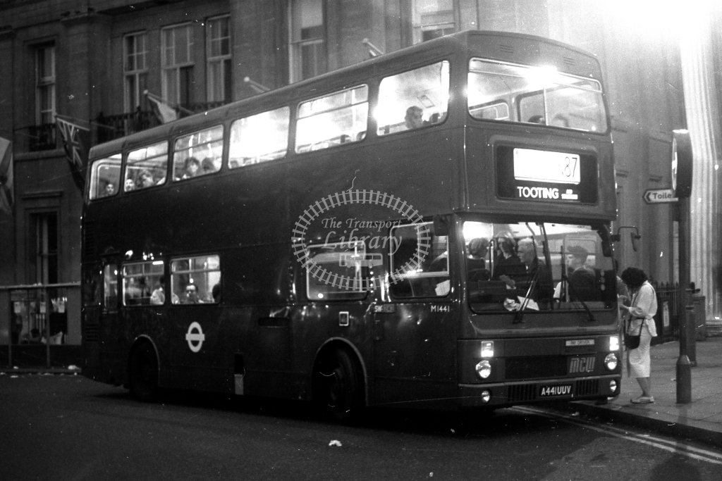 London Transport MCW Metrobus M1441 A441UUV  on route N87  at Trafalgar Square  in 1980s - JGS Smith