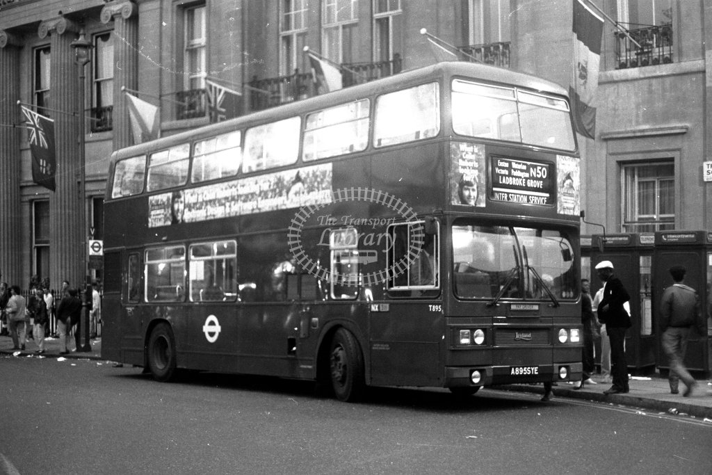 London Transport Leyland Titan T895 A895SYE  on route N50  at Trafalgar Square  in 1980s - JGS Smith