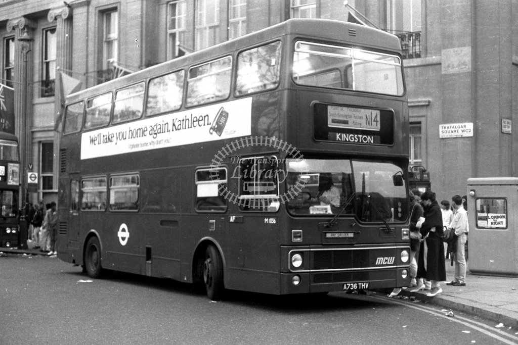 London Transport MCW Metrobus M1036 A736THV  on route N14  at Trafalgar Square  in 1980s - JGS Smith