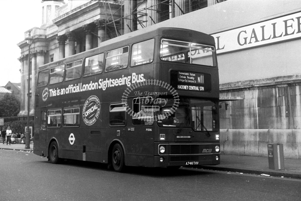 London Transport MCW Metrobus M1046 A746THV  on route N11  at Trafalgar Square  in 1980s - JGS Smith