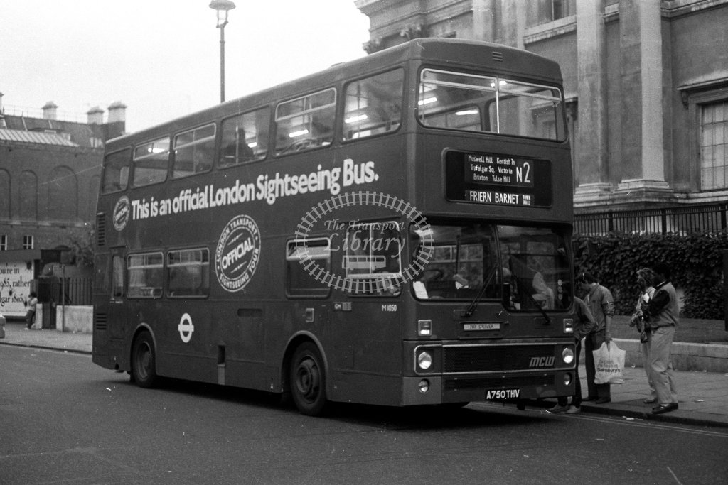 London Transport MCW Metrobus M1050 A750THV  on route N2  at Trafalgar Square  in 1980s - JGS Smith