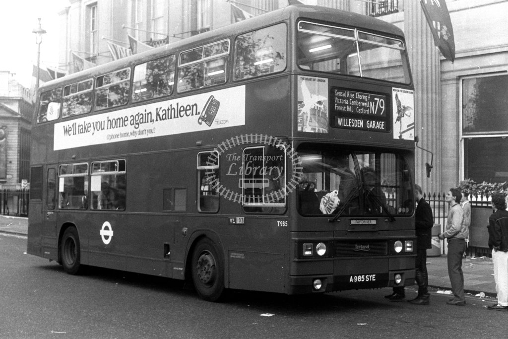 London Transport Leyland Titan T985 A985SYE  on route N79  at Trafalgar Square  in 1980s - JGS Smith