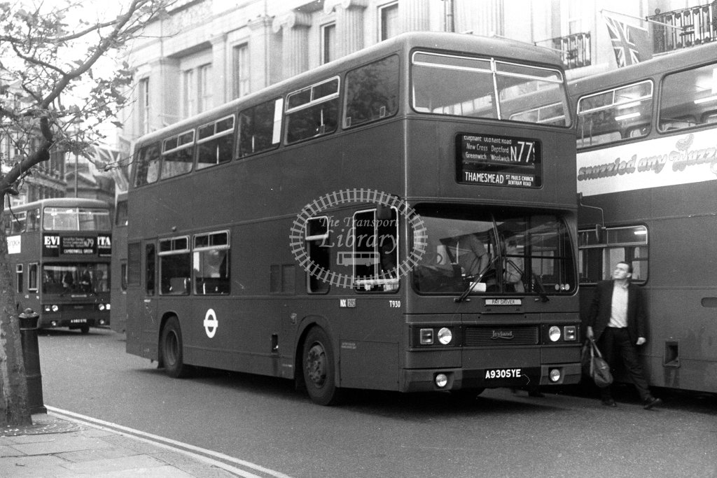 London Transport Leyland Titan T930 A930SYE  on route N77  at Trafalgar Square  in 1980s - JGS Smith