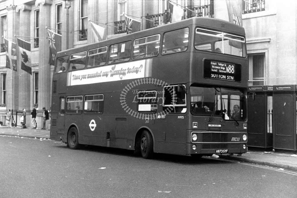 London Transport MCW Metrobus M973 A973SYF  on route N88  at Trafalgar Square  in 1980s - JGS Smith