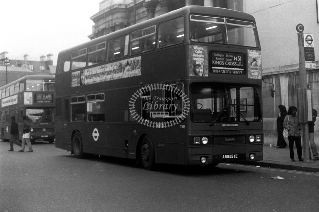 London Transport Leyland Titan T895 A895SYE  on route N51  at Trafalgar Square  in 1980s - JGS Smith