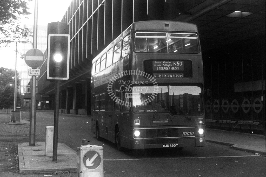 London Transport MCW Metrobus M890 OJD890Y  on route N50  at Euston  in 1980s - JGS Smith