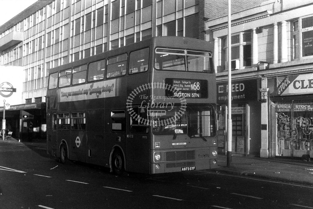 London Transport MCW Metrobus M973 A973SYF  on route N68  at Morden  in 1980s - JGS Smith