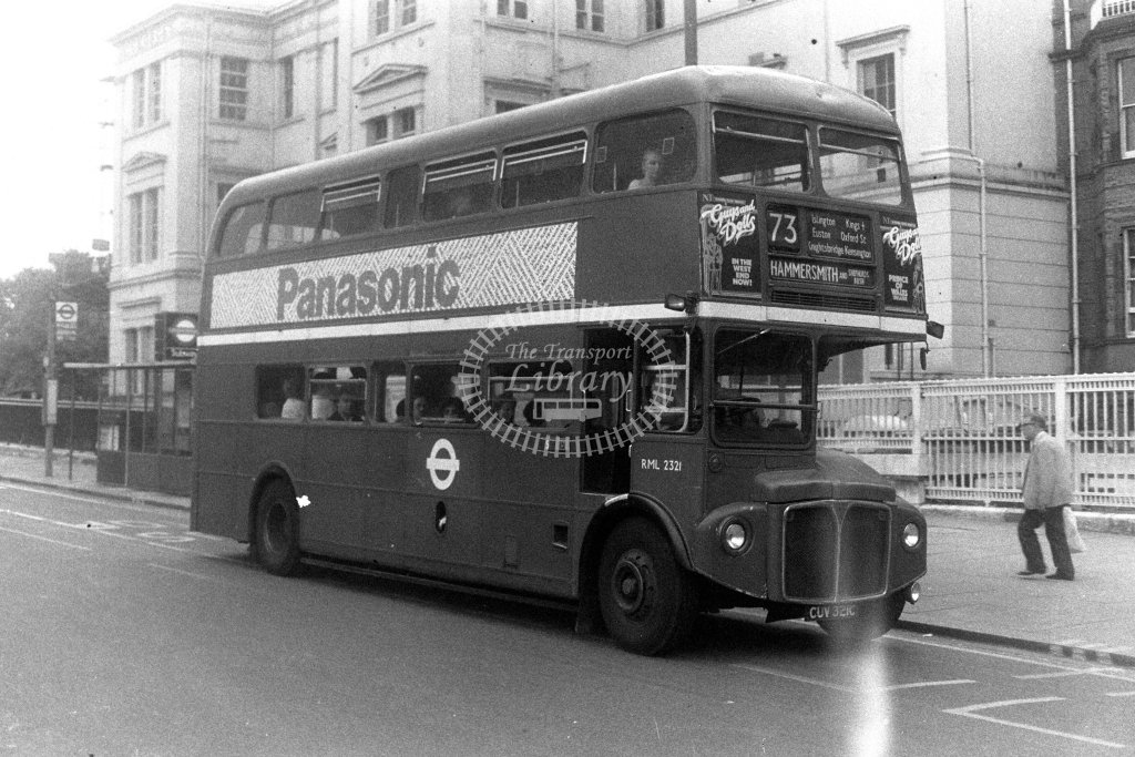 London Transport AEC Routemaster RML2321 CUV321C  on route 73  at Hyde Park Corner  in 1980s - JGS Smith