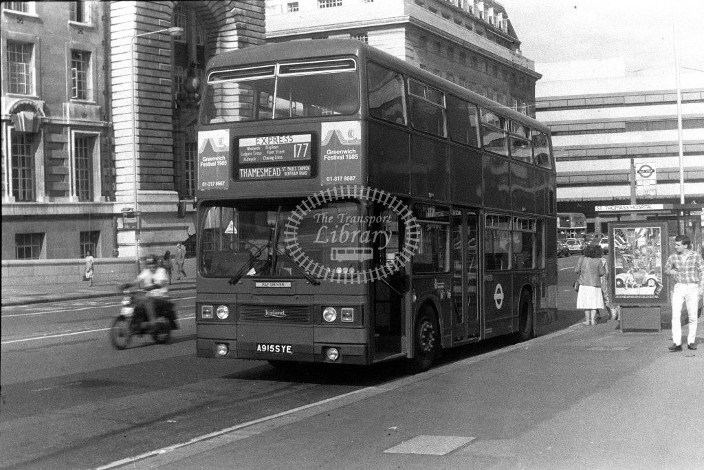 London Transport Leyland Titan T915 A915SYE  on route 177  at Westminster Bridge  in 1980s - JGS Smith
