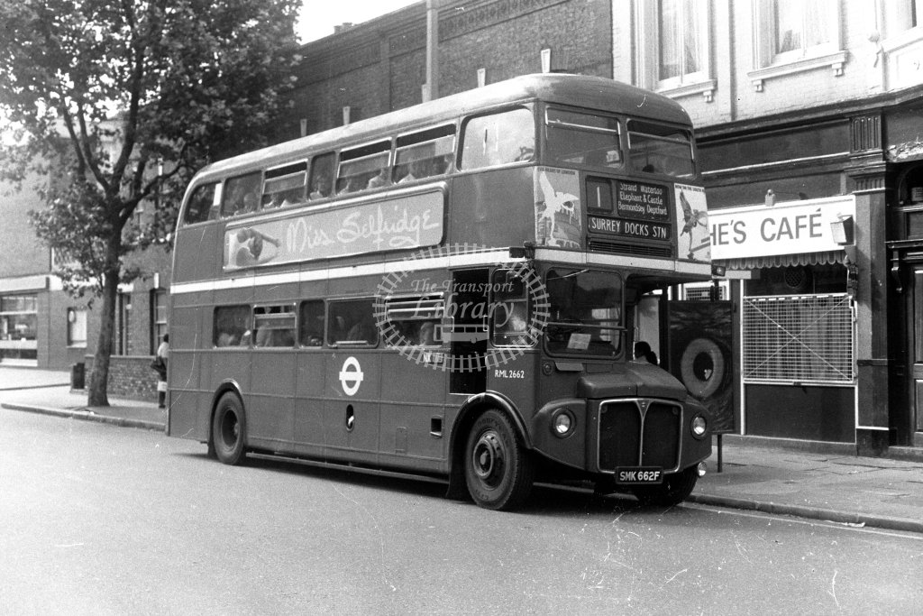 London Transport AEC Routemaster RML2662 SMK662F  on route 1  in 1980s - JGS Smith