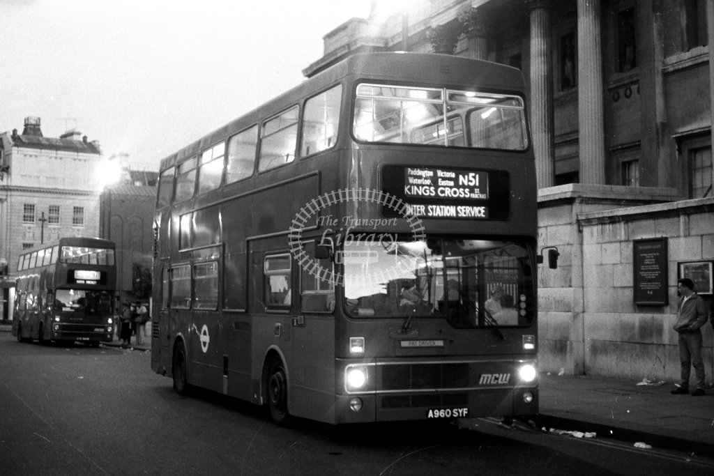 London Transport MCW Metrobus M960 A960SYF  on route N51  at Trafalgar Square  in 1980s - JGS Smith
