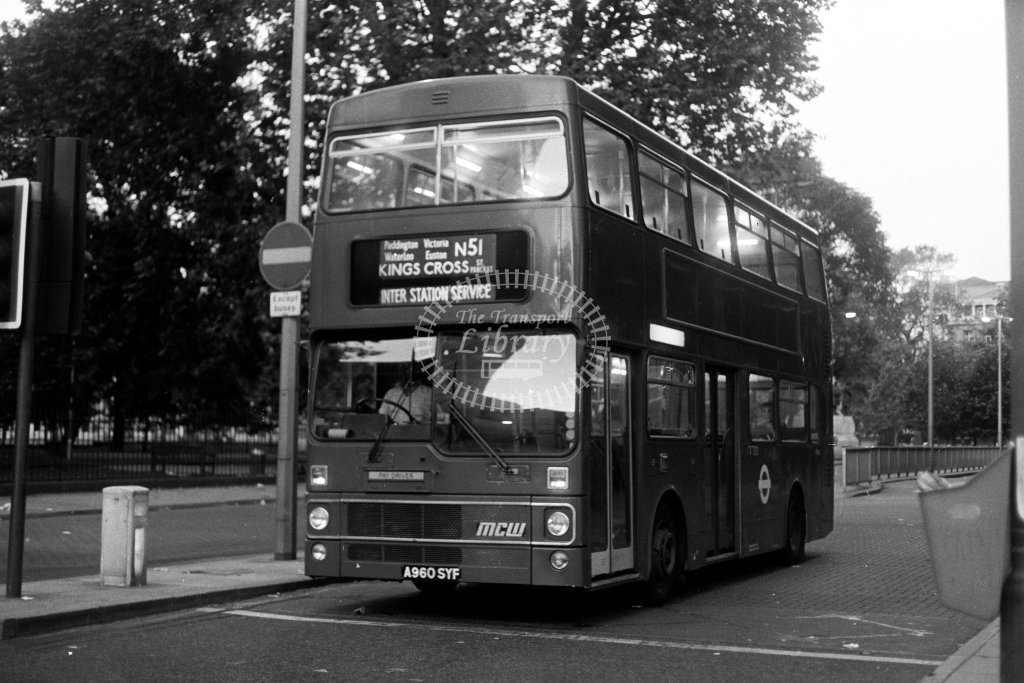 London Transport MCW Metrobus M960 A960SYF  on route N51  in 1980s - JGS Smith