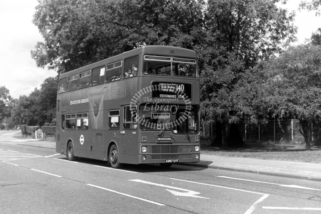 London Transport MCW Metrobus M987 A987SYF  on route 140  in 1980s - JGS Smith