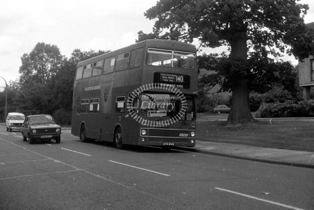 London Transport MCW Metrobus M619 KYO619X  on route 140  in 1980s - JGS Smith