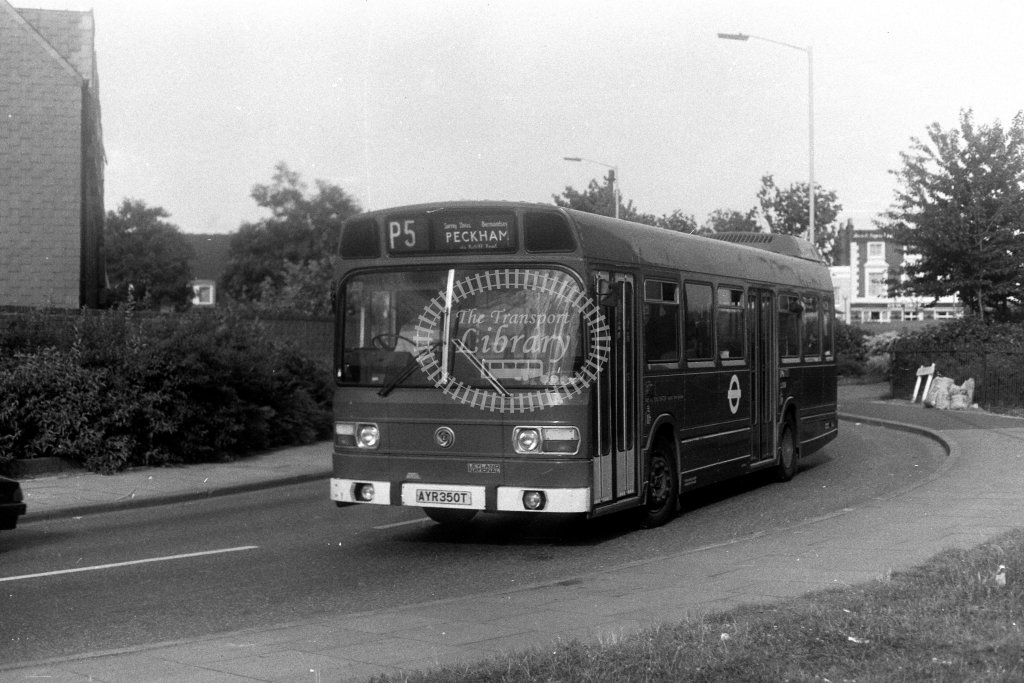 London Transport Leyland National LS350 AYR350T  on route P5  in 1980s - JGS Smith