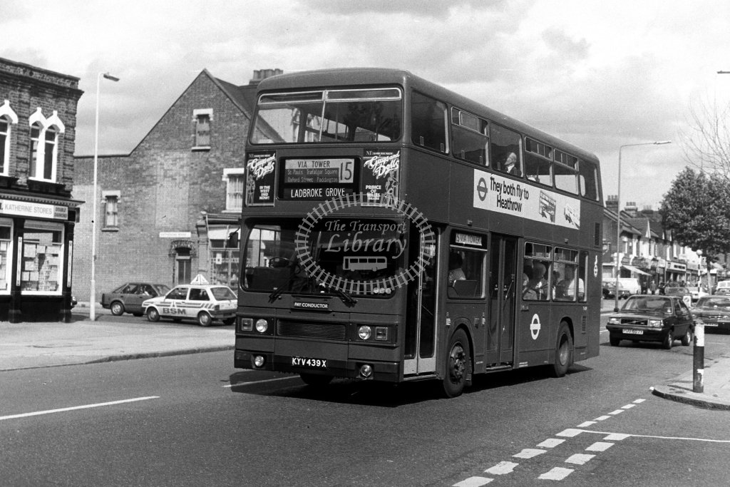London Transport Leyland Titan T439 KYV439X  on route 15  at East Ham  in 1980s - JGS Smith