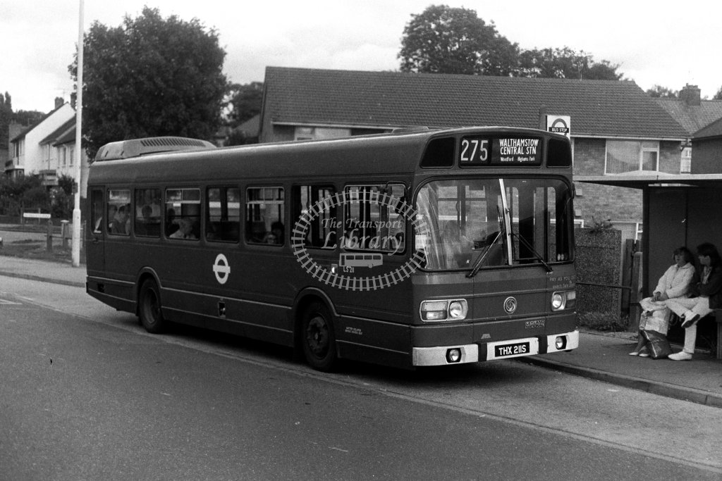 London Transport Leyland National LS211 THX211S  on route 275  in 1980s - JGS Smith