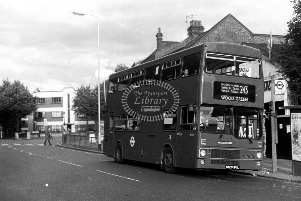 London Transport MCW Metrobus M1129 B129WUL  on route 243  in 1980s - JGS Smith