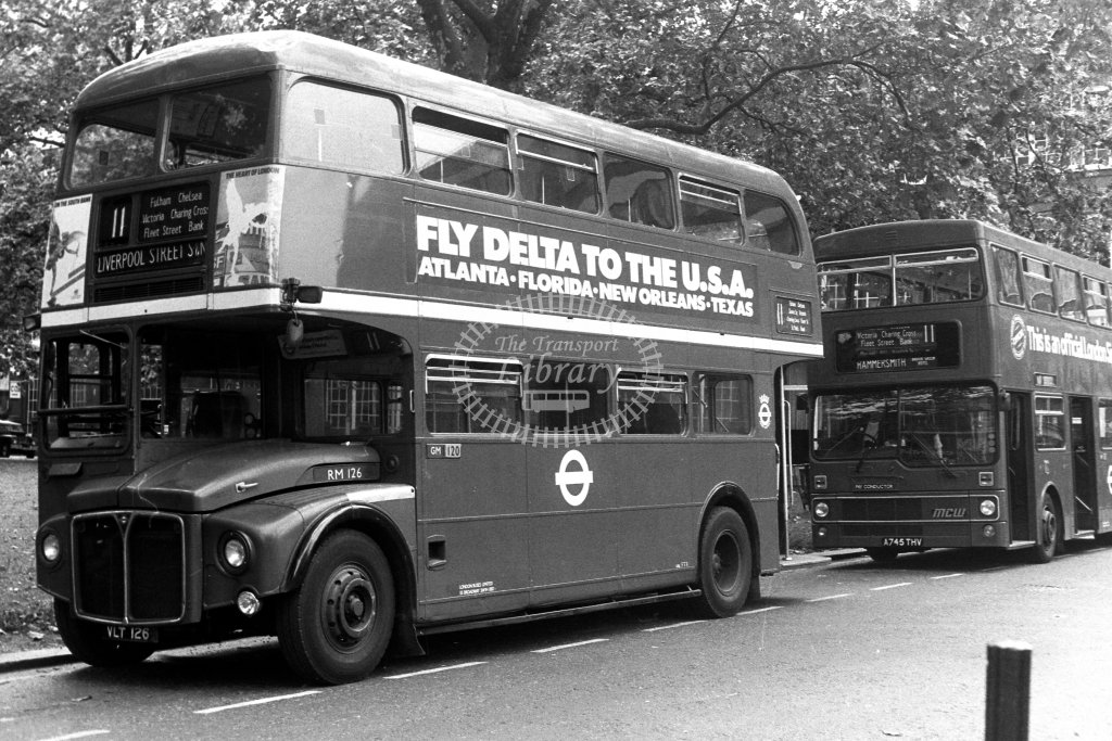 London Transport AEC Routemaster RM126 VLT126  on route 11  at Hammersmith,Brook Green  in 1980s - JGS Smith