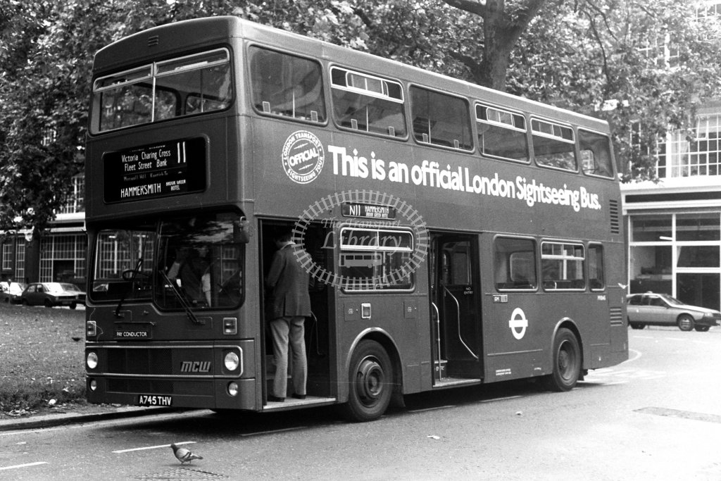 London Transport MCW Metrobus M1045 A745THV  on route 11  at Hammersmith,Brook Green  in 1980s - JGS Smith