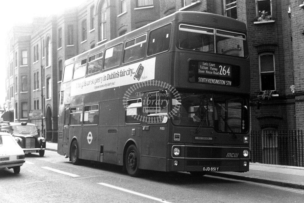 London Transport MCW Metrobus M851 OJD851Y  on route 264  in 1980s - JGS Smith