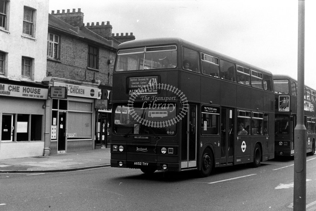 London Transport Leyland Titan T1052 A652THV  on route 47A  in 1980s - JGS Smith