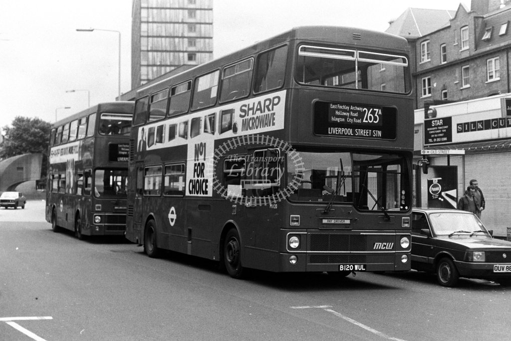 London Transport MCW Metrobus M1120 B120WUL  on route 263A  at Old Street  in 1980s - JGS Smith