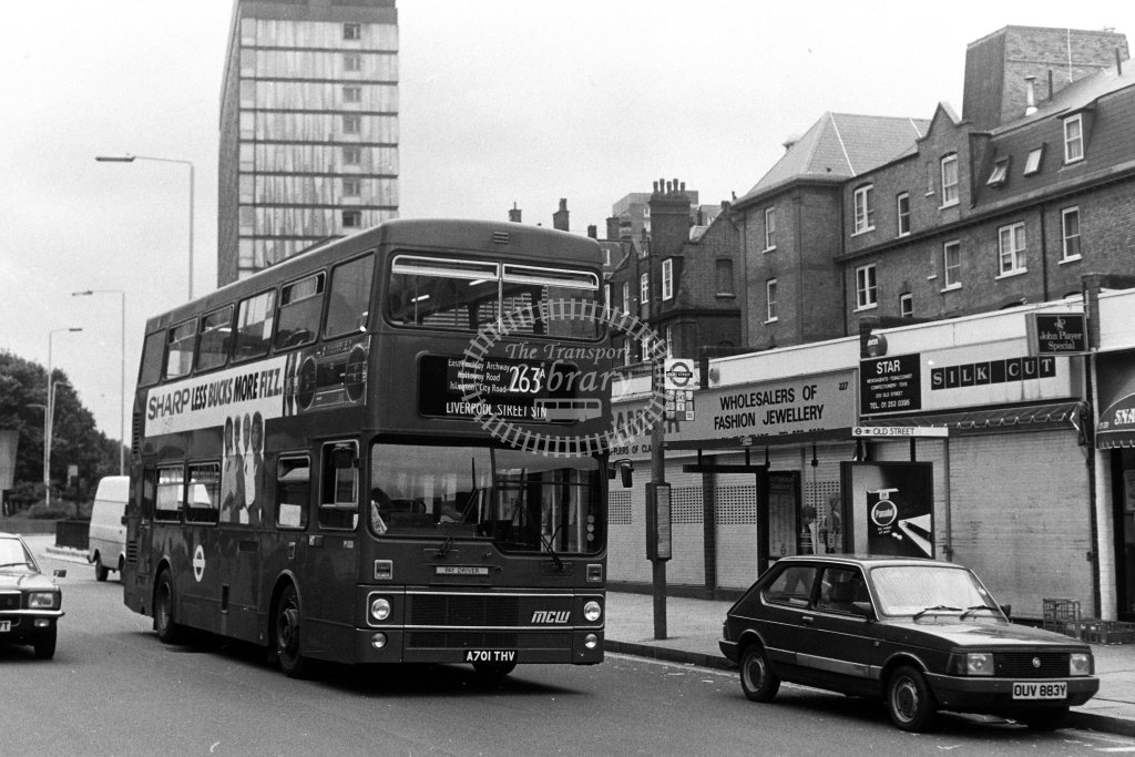 London Transport MCW Metrobus M1001 A701THV  on route 263A  at Old Street  in 1980s - JGS Smith