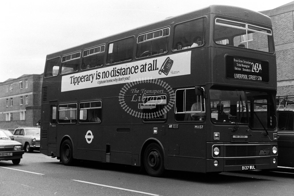 London Transport MCW Metrobus M1137 B137WUL  on route 243A  in 1980s - JGS Smith