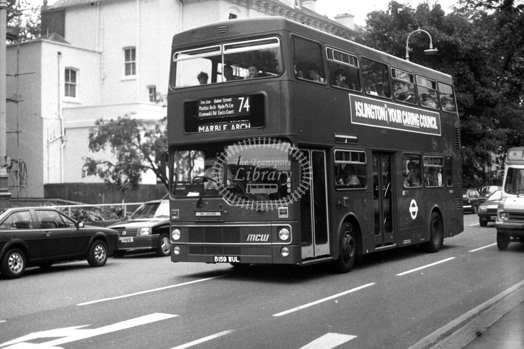 London Transport MCW Metrobus M1159 B159WUL  on route 74  in 1980s - JGS Smith