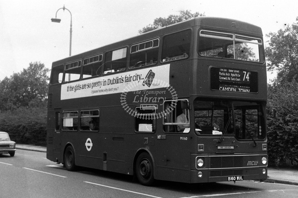 London Transport MCW Metrobus M1160 B160WUL  on route 74  in 1980s - JGS Smith