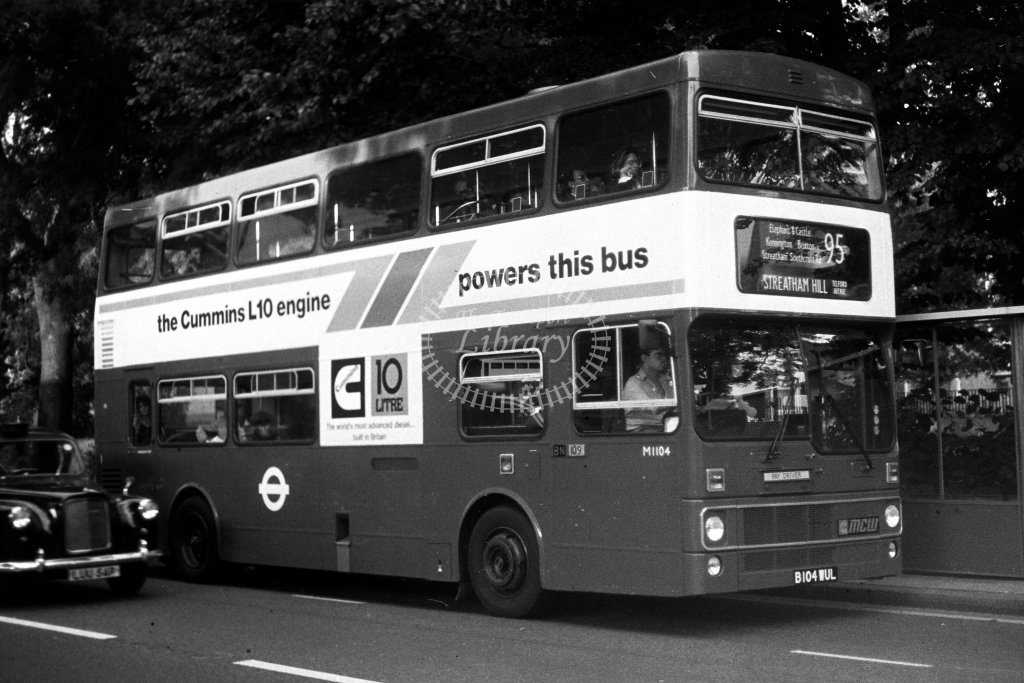 London Transport MCW Metrobus M1104 B104WUL  on route 95  in 1980s - JGS Smith