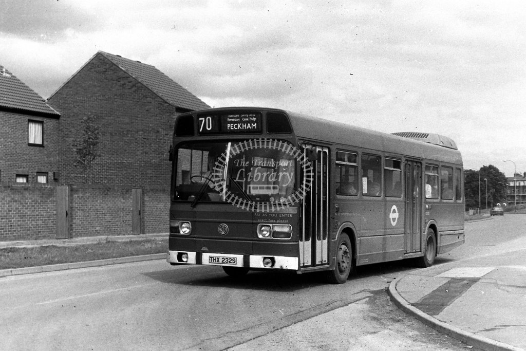 London Transport Leyland National LS232 THX232S  on route 70  in 1980s - JGS Smith