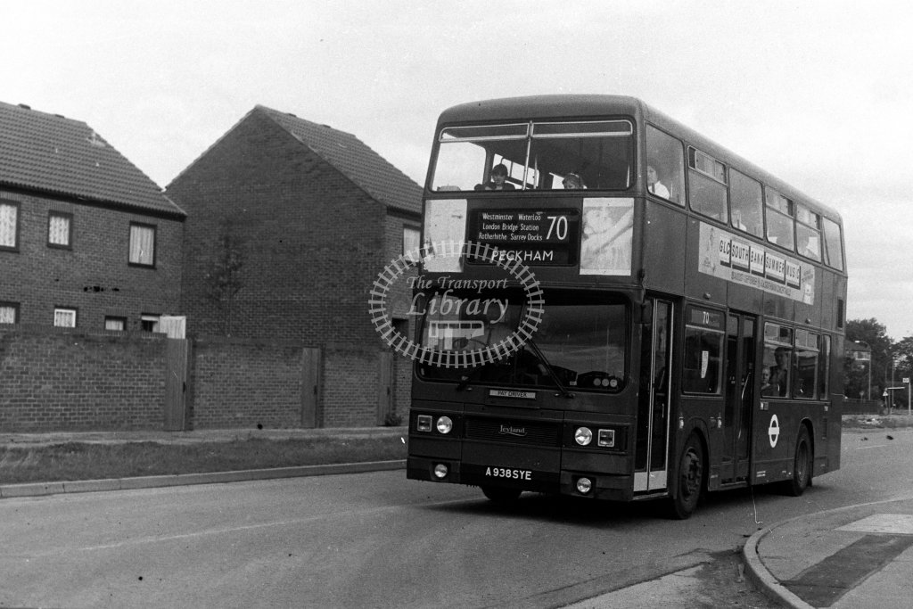 London Transport Leyland Titan T938 A938SYE  on route 70  in 1980s - JGS Smith