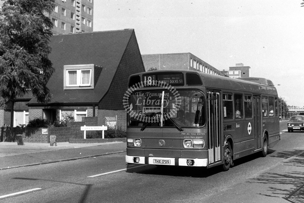 London Transport Leyland National LS170 THX170S  on route 181  at New Cross  in 1980s - JGS Smith