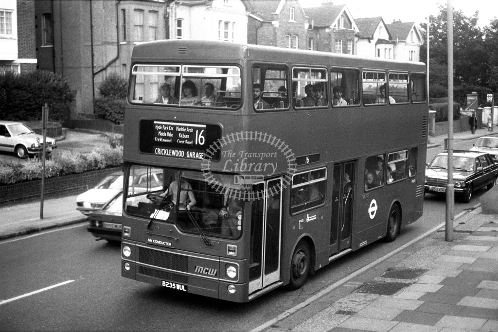 London Transport MCW Metrobus M1235 B235WUL  on route 16  at Shoot Up Hill  in 1980s - JGS Smith
