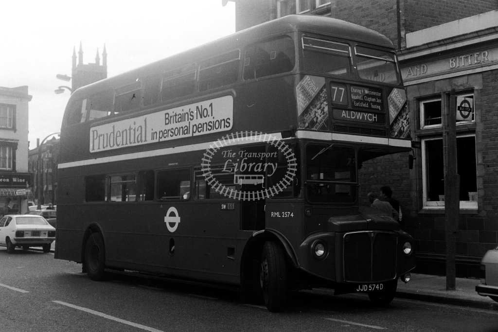 London Transport AEC Routemaster RML2574 JJD574D  on route 77  in 1980s - JGS Smith