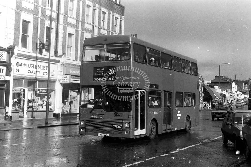 London Transport MCW Metrobus M2 THX102S  on route 266  in 1980s - JGS Smith