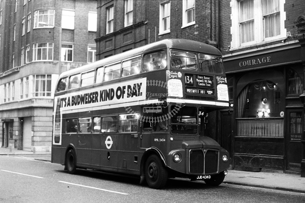 London Transport AEC Routemaster RML2434 JJD433D  on route 134  in 1980s - JGS Smith