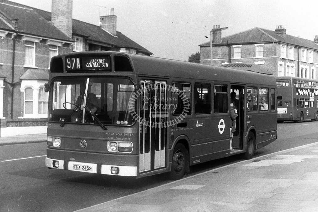 London Transport Leyland National LS245 THX245S  on route 97A  in 1980s - JGS Smith