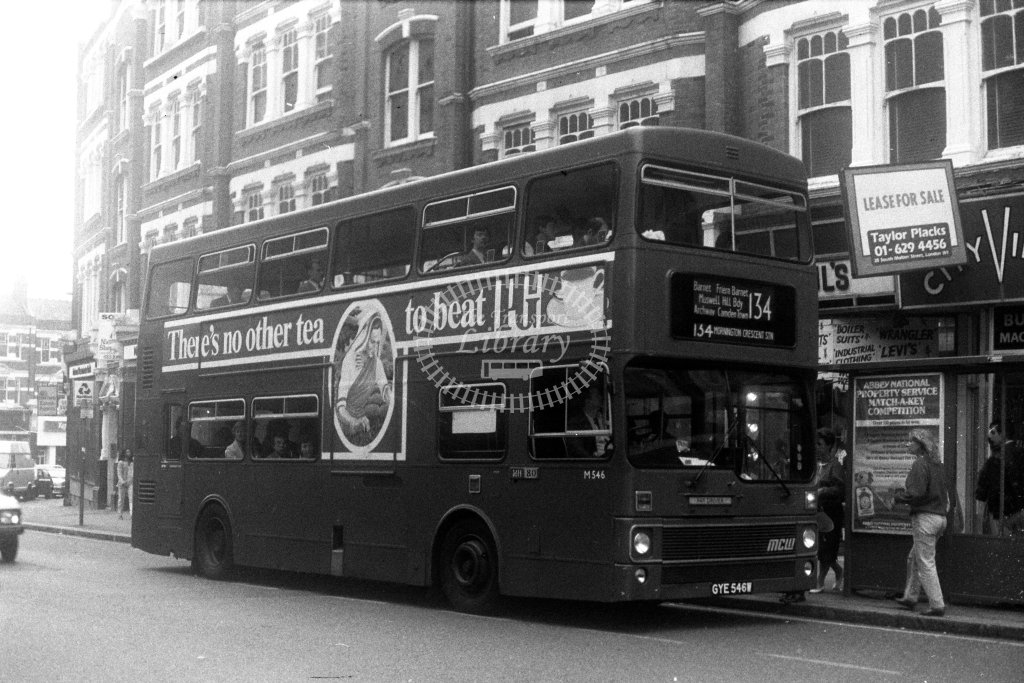 London Transport MCW Metrobus M546 GYE546W  on route 134  at Muswell Hill  in 1980s - JGS Smith