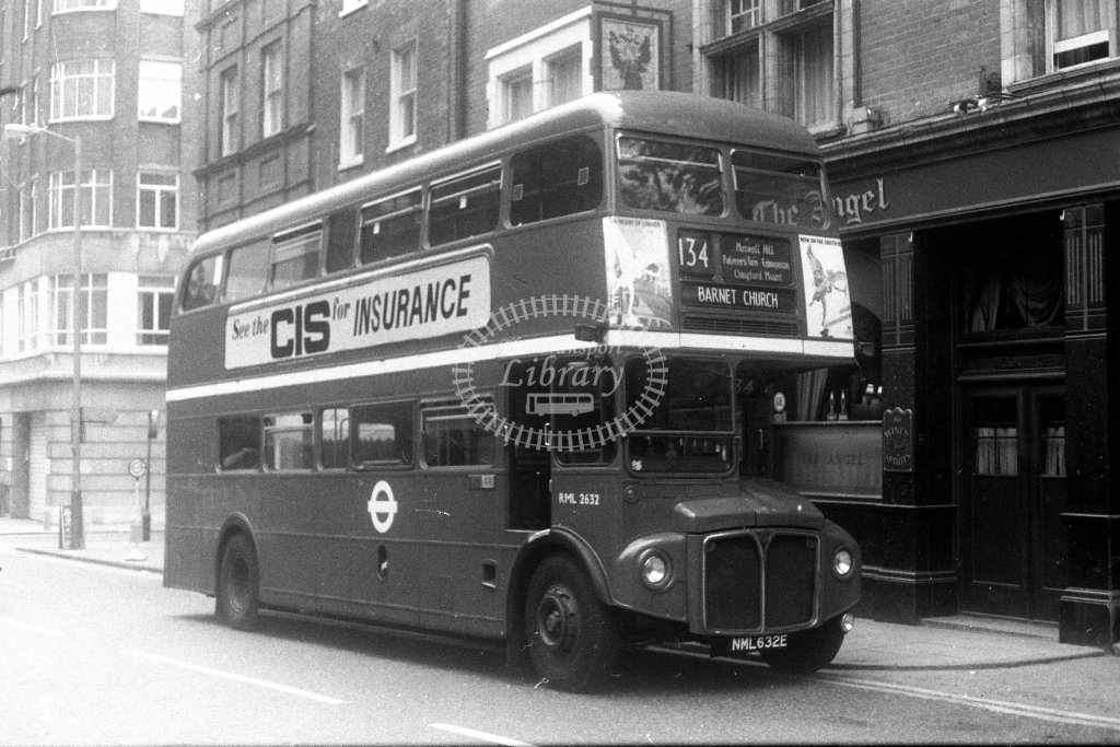 London Transport AEC Routemaster RML2632 NML632E  on route 134  at Bloomsbury  in 1980s - JGS Smith