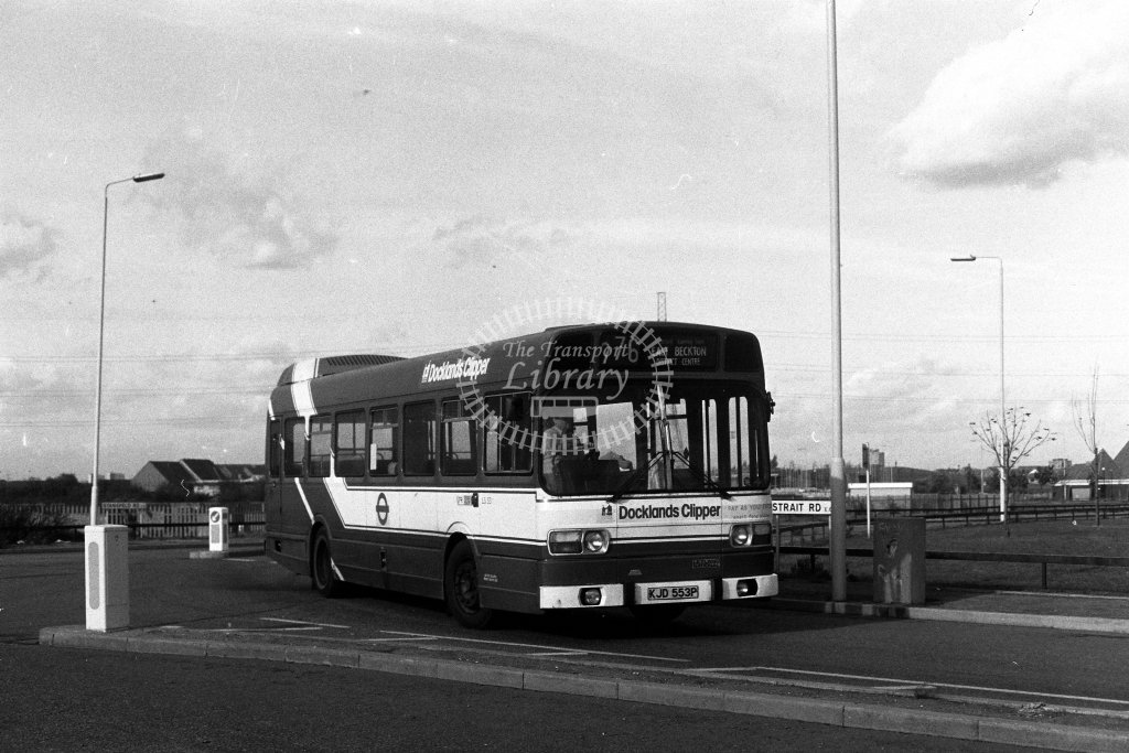 London Transport Leyland National LS53 KJD553P  on route 276  at Beckton  in 1980s - JGS Smith