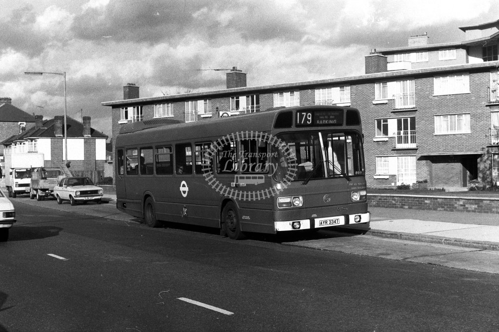 London Transport Leyland National LS334 AYR334T  on route 179  in 1980s - JGS Smith