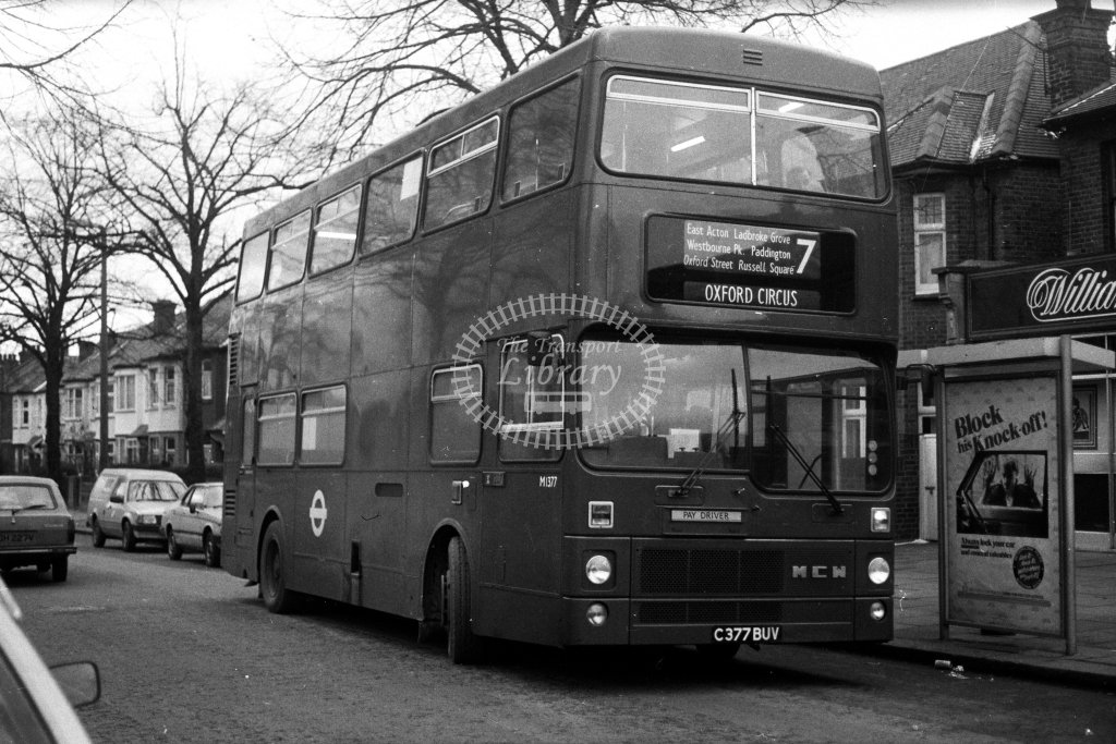 London Transport MCW Metrobus M1377 C377BUV  on route 7  in 1980s - JGS Smith