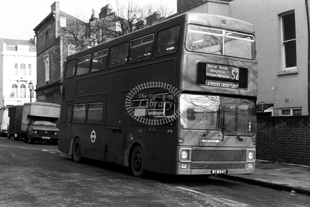 London Transport MCW Metrobus M94 WYW94T  on route 52  at Ladbroke Grove  in 1980s - JGS Smith