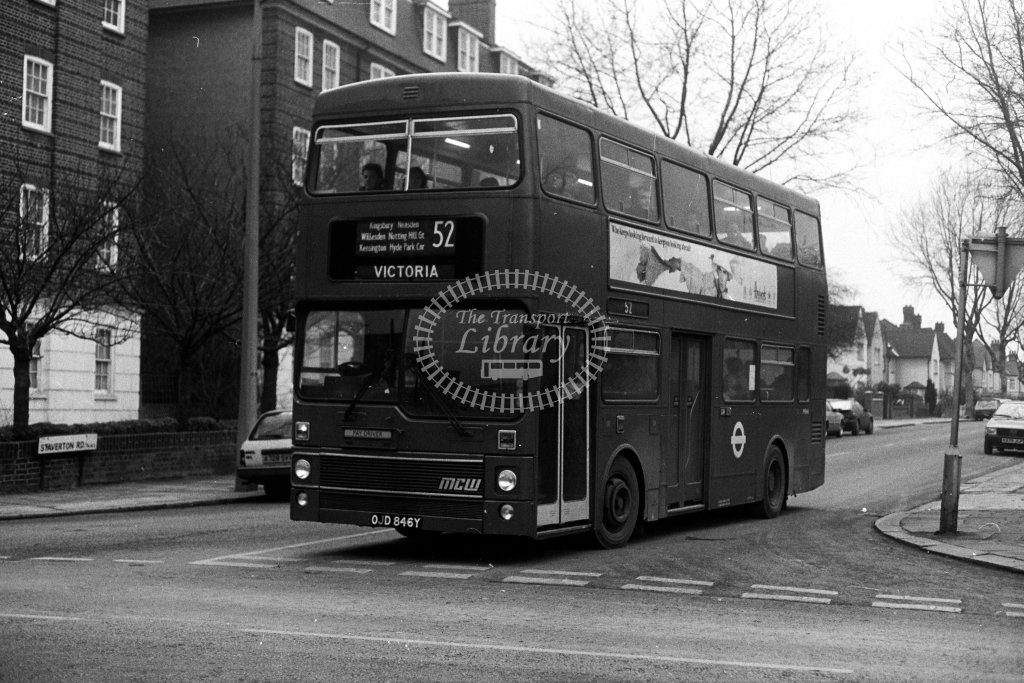 London Transport MCW Metrobus M846 OJD846Y  on route 52  at Willesden  in 1980s - JGS Smith